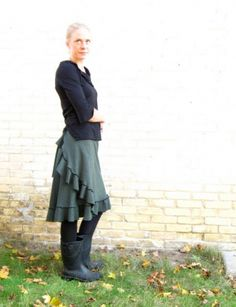 Mid length ruffled wrap skirt. Made to order in 19 different colors, just for you!