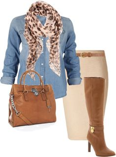 (fall/work) chambray shirt, leopard-print scarf, tan pencil skirt, cognac boots