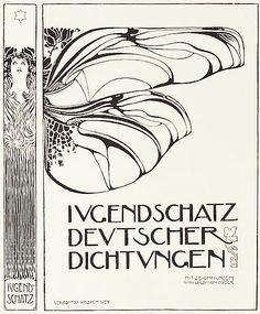 Book cover by Kolo Moser, Feb. 1898, Ver sacrum. Si les caractères par l'utilisation de capitales révèlent une approche plus géométrique et rythmée, la partie illustrative reste proche des productions de Mucha