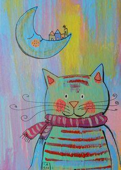 Nighty cat Art Print.   Moonlight Studios