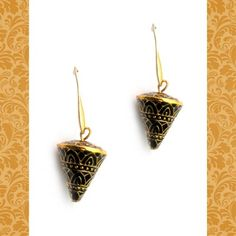 Indian enamel work Cone earrings