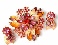 Brooch and Earrings Rhinestone Enamel Flower by JewelryQuestDesign, $60.99