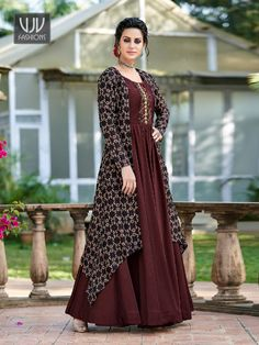Maroon Tussar Silk Printed Gown - Apparelsnyou: Online Shopping Site For Men, Women, Accessories, Shoes & Lifestyle Long Dress Design, Dress Neck Designs, Stylish Dress Designs, Designs For Dresses, Stylish Dresses, Ladies Dress Design, Designer Anarkali Dresses, Designer Party Wear Dresses, Kurti Designs Party Wear
