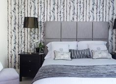 Smart Grey and White Bedroom with Trees Feature Wall