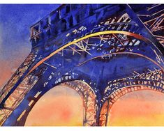 Painting of 19th century Eiffel Tower Paris by RFoxWatercolors