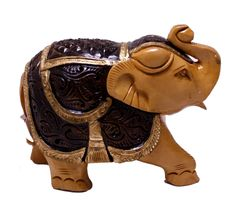 """(sku no:royal elephant statue_519) Exquisite Hand Carved Wooden Indian Royal Elephant Figurine Statue.Size: 4"""" x 5.3"""" inches."""