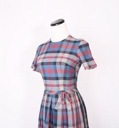 Vintage Plaid 1950s Plaid Christmas Holiday Dress by aiseirigh, $68.00