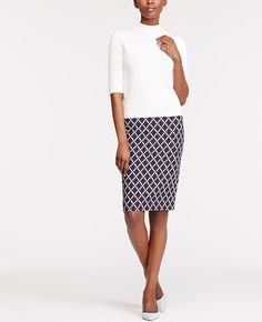 Image of Tile Jacquard Pencil Skirt