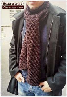 Free Pattern: Extra Warm Men's Scarf by Kyoko Nakayoshi -love the pattern, very original.but it is pretty heavy and thick for the scarf in my opinion. Mens Scarf Knitting Pattern, Crochet Mens Scarf, Crochet Scarves, Men's Scarves, Man Scarf Knit, Men Scarf, Cowl Scarf, Knitted Cape, Knitting Accessories
