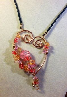 Heart Wire Wrapped Pendant Necklace by ScovilDesigns on Etsy, $17.50