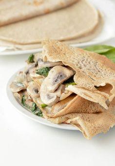 French Buckwheat Crepes, gluten free savory crepes made of 100% buckwheat flour, no milk, egg free option (vegan recipe provided). French buckwheat galette