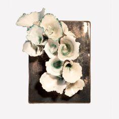 Jennifer Fontanella ArtByJenF Ceramic Flroal Plaque Sculpture