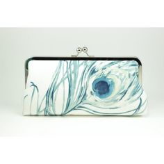 Printed Clutch : Teal Painted Peacock / Wedding Purse ($70) ❤ liked on Polyvore