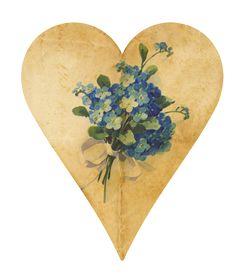 heart. forget-me-nots. PAPIROLAS COLORIDAS