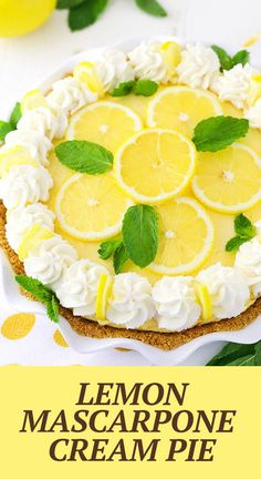 This Lemon Mascarpone Cream Pie is full of lovely lemon flavor! It's light and perfect for summer, and I love the addition of the smooth and creamy mascarpone cheese! Easy Pie Recipes, Lemon Dessert Recipes, Cream Pie Recipes, Lemon Recipes, Lemon Cream Pies, Lemon Tarts, Traditional Easter Desserts, Easy Easter Desserts, Desserts With Biscuits