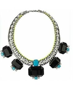 J New 2013 Crew Luxurious Black Gem Crystal Multilevel Pearl Vintage Alloy Necklaces & Pendants Lady Jewelry