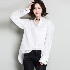 2017 Women Shirts White Color Tops Long-sleeved Cotton Shirts Loose Women's Fashion Ladies Office Shirt Formal Blusa Feminino
