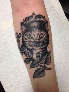 Cat and catnip tattoo