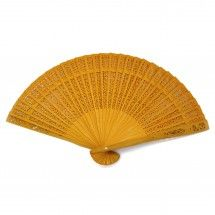 """13"""" Sandalwood Fan Favors BULK - Yellow (come in a variety of colors)"""