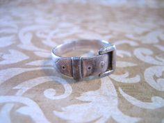 Vintage Sterling Silver Belt Buckle Band Ring by charmingellie, $24.00