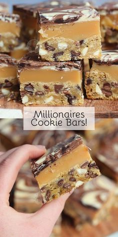 Triple Chocolate Chip Cookie Bars, with Homemade Caramel, and a Triple Chocolate Layer… Millionaires Cookie Bars! Triple Chocolate Chip Cookie Bars, with Homemade Caramel, and a Triple Chocolate Layer… Millionaires Cookie Bars! Dessert Bars, Oreo Dessert, Cake Bars, Dessert Food, Pumpkin Dessert, Brownie Cookies, Triple Chocolate Chip Cookies, Bar Cookies, Cream Cookies