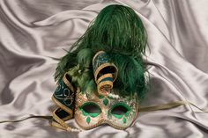 Turquoise Masquerade Masks with Feathers | Venetian Masks - Masks for Masquerade Ball - Deluxe Mask