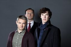 (Does the third pic creep anyone else out or is it just me?) BBC Sherlock - Promo Pictures Grey BG S2 - Sherlock, John & Mycroft- Click here for SHQ: Pic 3 (5612x3742). The bottom pic is a really rare...
