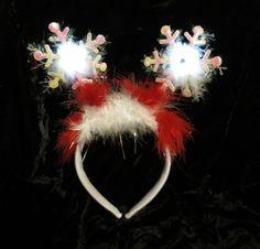 Christmas Day Works Party Fun Headband Elf Ears Flashing Snowflake Mistletoe Hat