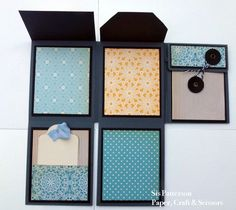 "Here is a little folded album that uses one piece of paper as its foundation.  I made this ""one sheet wonder"" in response to a National Scrapbook Day challenge from a friend. This is the pin that i..."