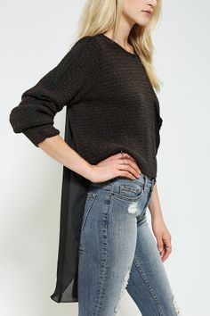 Urban Renewal High/Low Chiffon Sweater at Urban Outfitters