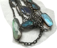 AMAZING FIRE FACETED highest quality Labradorite Gemstones on 51 inch Necklace Oxidized Sterling Silver by TheVintageAdvantages on Etsy