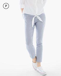 Chico's Women's So Slimming Petite Brigitte Pinstripe Ankle Pants