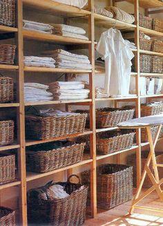 Laundry room, bedroom or linen closet - basket are always wonderful for organization. Linen Closet Organization, Laundry Room Storage, Laundry Room Design, Laundry Rooms, Laundry Shelves, Basket Organization, Laundry Area, Airing Cupboard, Linen Cupboard