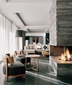 Interior Fireplace - The Cambrian in Adelboden, Switzerland
