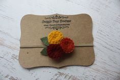 Felt Flower Headband or Hair Clip- Mini Mum Trio Shades of Fall  - Photo Prop