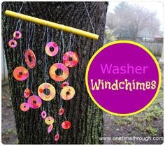 Make sweet-tinkling and colourful windchimes using washers with your toddler or preschooler.  #kidscrafts  www.onetimethrough.com