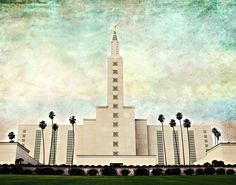 Los Angeles LDS Temple Print 11 x 14 Vintage by cherishmedesigns, $20.00