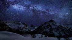 #Landscape #Mountains #Snow #MilkyWay #Wallpaper