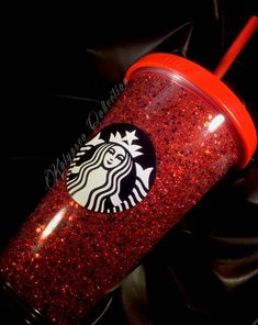 NEW Starbucks Red Glitter Tumbler Grande Travel Cup Straw & Lid - Retired