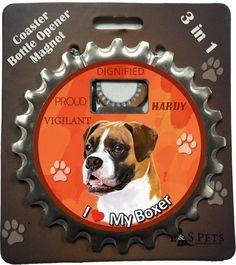 EandS Pets Boxer Uncropped Bottle Opener, Coaster and Magnet *** Click image for more details.