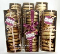cookies packaging STampin Up! Tag a Bag Gift Boxes Baking Packaging, Biscuits Packaging, Dessert Packaging, Food Packaging Design, Box Packaging, Packaging For Cookies, Pretty Packaging, Cookie Box, Cookie Gifts