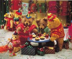 stuffed teddy bears at a party