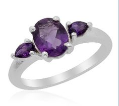 Genuine Amethyst 3 Stone Ring .925. Starting at $18 on Tophatter.com!