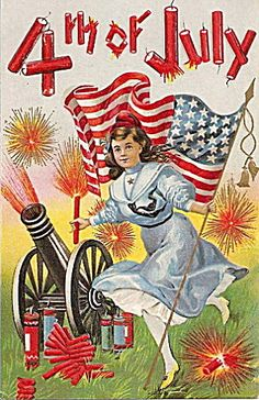 Lovely July 4th Girl & Cannon Fireworks 1909 Postcard