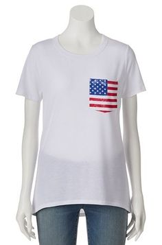 Modern Lux American Flag Pocket High-Low Tee - Juniors