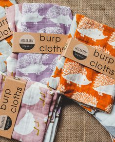 Bundle of Burpies- Milk Barn (formerly Zebi Baby) products. I have one of their burp cloth sets & one of their swaddles & I LOVE them!