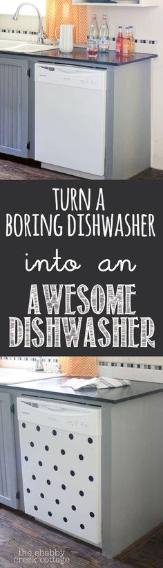 DIY Polka Dot Dishwasher - cute!