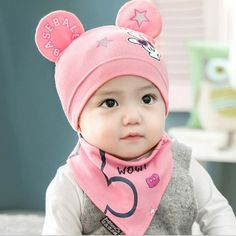 2 pcs/set New Baby Hat Bib Set Cartoon Cotton Beanie Boy Girls Hats Kids Hat Pho #Undisclosed #Beanie