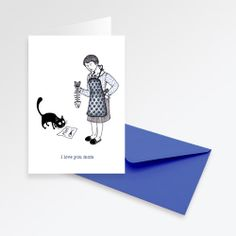 """I love you Mom"" Greeting Card by Letizia Iannaccone"