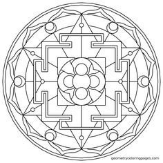 Mandala Coloring Page, Sacred Rooms from geometrycoloringpages.com